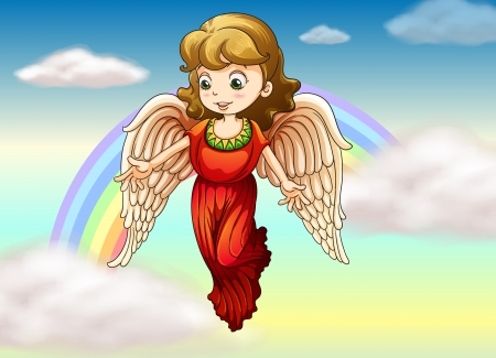 Illustration of an angel with a rainbow at her back Vector