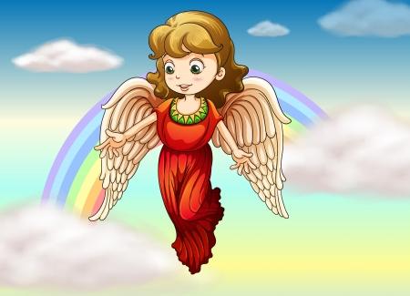 Illustrazione di un angelo con un arcobaleno alla schiena