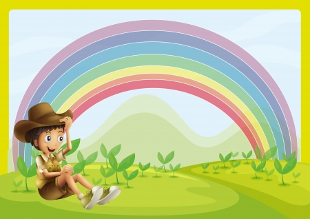 Illustration of a boy sitting and rainbow as background Vector