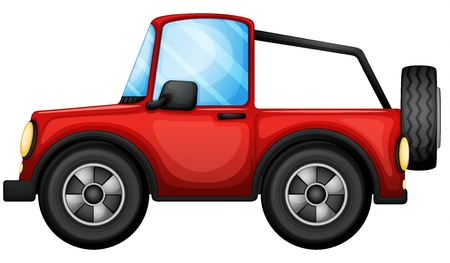 running off: Illustration of a red car on a white background