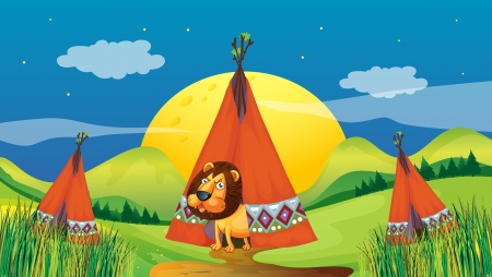Illustration of a lion inside a tent Vector