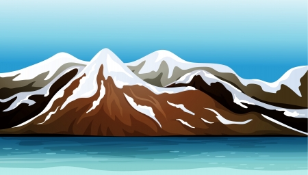 solemn land: Illustration of mountains covered with snow under a blue sky