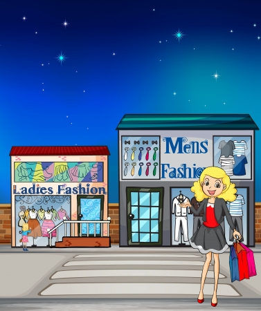 Illustration of a girl and fashion stores Vector