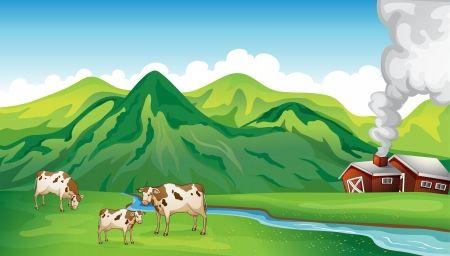 stream: Illustration of a farm house and cows near the mountain