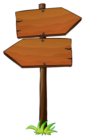 posted: Illustration of a left and right wooden arrow on a white background Illustration