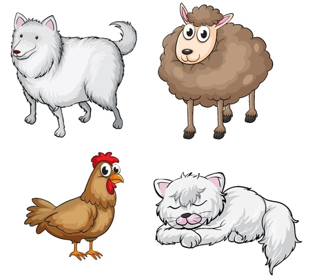 Illustration of land animals on a white background Stock Vector - 17339027