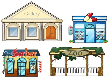 cartoon hairdresser: Illustration of a gallery, drug store, barber shop and zoo on a white background