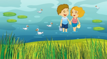 love pic: Illustration of a girl and a boy holding hands while in the pond