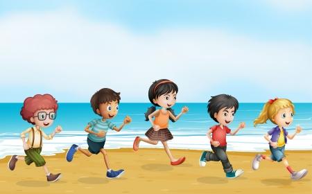 children running: Illustration of running children near the sea Illustration