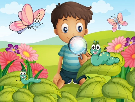 oruga: Ilustración de un muchacho litte con una lupa en el jardín Vectores