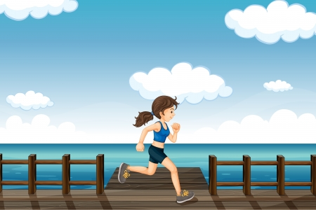 Illustration of a young woman jogging in the seaside Vector