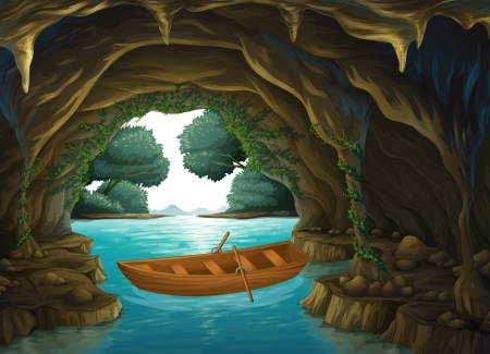 sea plant: Illustration of a boat in the cave