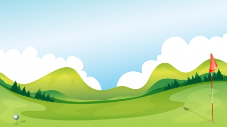 golf ball on tee: Illustration of a golf course with the mountains as a background.