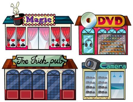 irish pub: Illustration of a magic show area, Irish pub, dvd and camera shop on a white background