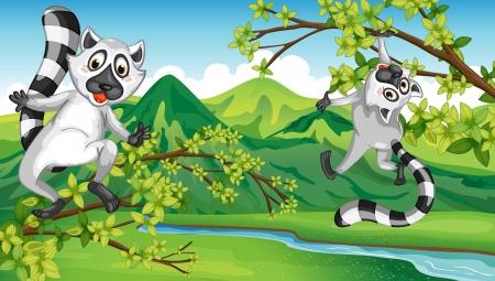unfriendly: Illustration of two animals having fun