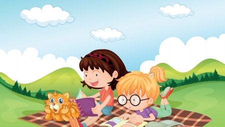 picnic blanket: Illustration of girls reading with an animal listening Illustration