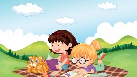 picnic park: Illustration of girls reading with an animal listening Illustration