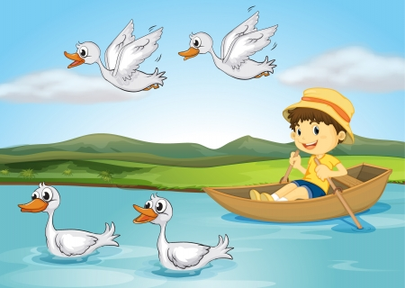flying boat: Illustration of a kid on a boat and flying and swimming ducks