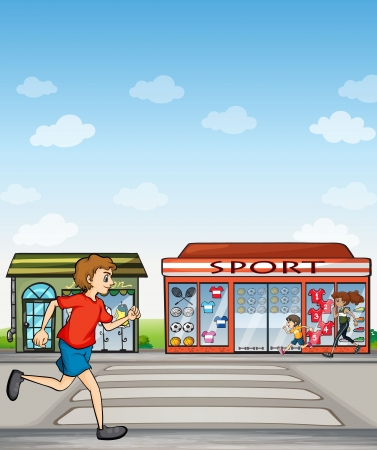 establishments: Illustration of joggers beside a sports outlet.