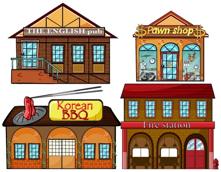 building fire: Illustration of an English pub, Korean restaurant, pawnshop, and fire station on a white background Illustration