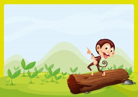 boastful: Illustration of a boastful monkey on a trunk