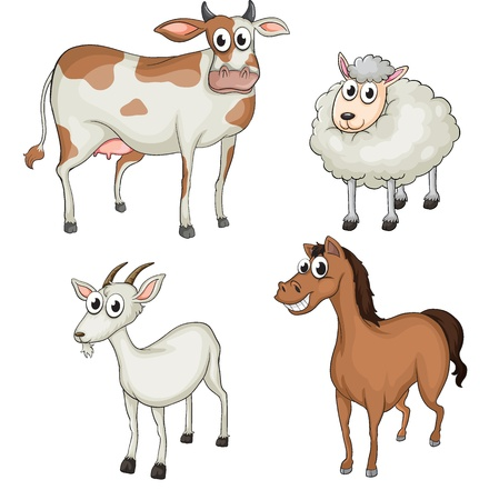 smiling goat: Illustration of farm animals on a white background