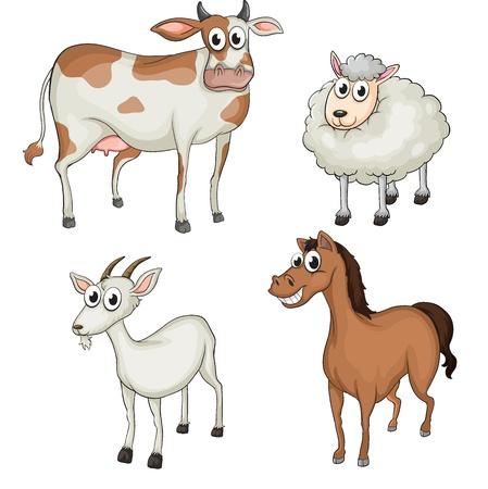 Illustratie van landbouwhuisdieren op een witte achtergrond