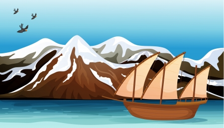 flying boat: Illustration of a boat floating near the mountain area with sea birds flying