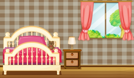 bedside: Illustration of a bed beside a window on a sunny day. Illustration