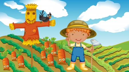 illustration of a farmer with a scarecrow and a bird