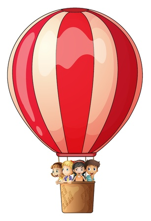 Illustration of a stripe air balloon flying with kids on a white background Vector