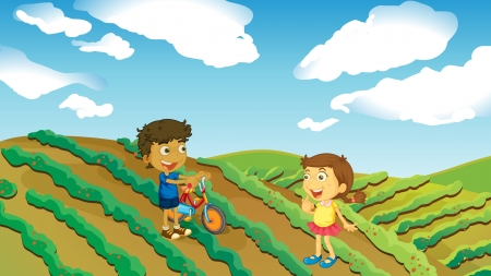 Illustration of two kids playing in the farm with a bike Vector
