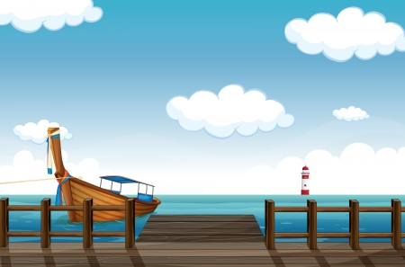 Illustration of a docked boat on a cloudy day with the lighthouse on the background. Vector