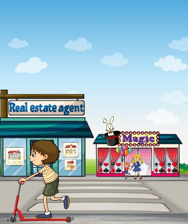 Illustration of a boy riding a scooter in the street near a real estate office and a magic shop Stock Vector - 17339134