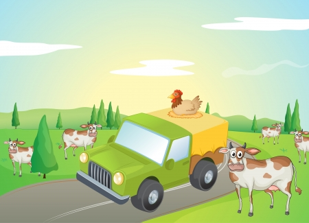 Illustration of cows and a chicken along the road Stock Vector - 17339006