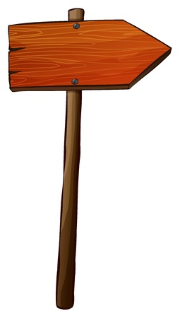 arrow wood: Illustration of a signboard arrow made of wood on a white background Illustration
