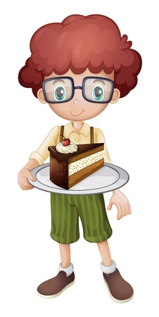 hungry kid: Illustration of a kid holding a slice of cake with cherry on white background Illustration