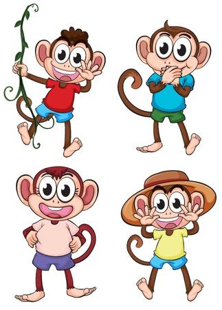 giggle: Illustration of four giggling monkeys on a white background
