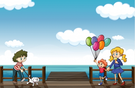 Illustration of happy people strolling in the seaside Vector