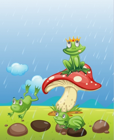 Illustration of frogs playing in the rain Vector
