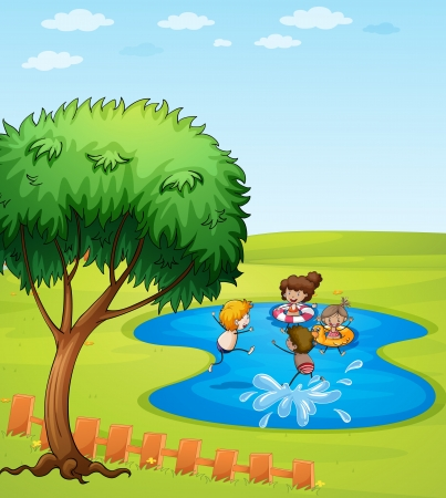 Illustration of happy people enjoying the water Vector