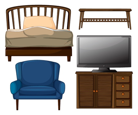 Illustrations of a bed, center table, chair, and tv set on white background. Vector