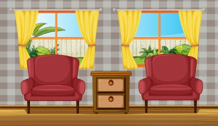 couch: Illustration of a colorful living room Illustration