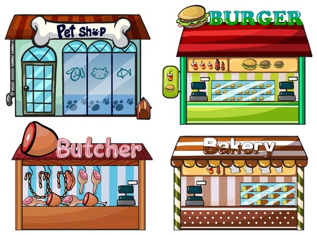 shops: Illustration of a petshop, burger stand, butcher shop, and bakery on white background.
