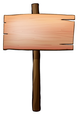 wooden post: Illustration of an empty signboard made of wood on a white background