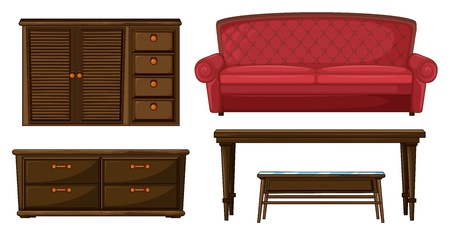 locker room: Illustration of a cabinet, sofa and tables on a white background