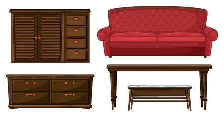 armarios: Ilustraci�n de un armario, sof� y mesas sobre un fondo blanco