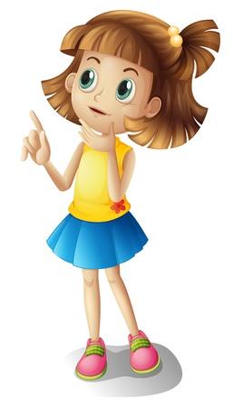 chica pensando: Ilustración de una chica de pelo corto pensando en un fondo blanco