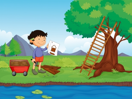 building contractor cartoon: Illustration of a carpenter with a sketch plan of the tree house