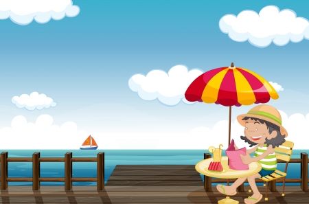 watermelon woman: Illustration of a young girl reading at the seaside